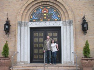 Nicole and I under some cool stained glass